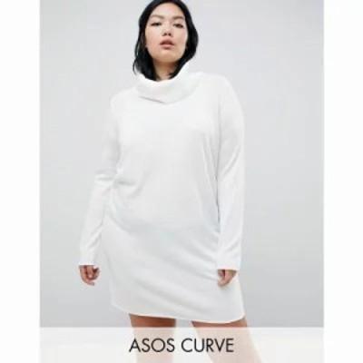 エイソス ワンピース ASOS DESIGN Curve cowl neck knitted mini dress Cream