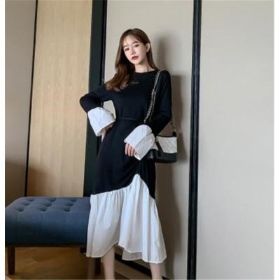 今が絶対買い流行 韓国ファッション 気質 大人気 おしゃれな トレンド 新品 秋物 ゆったりする 中・長セクション 長袖 縫付 イレギュラー ワンビース