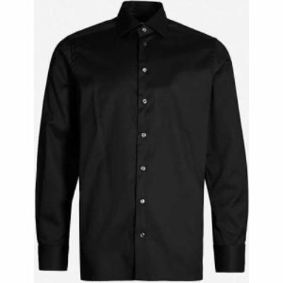イートン ETON メンズ シャツ トップス Contemporary-fit cotton-twill shirt BLACK