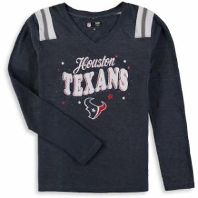New Era ニュー エラ スポーツ用品  New Era Houston Texans Girls Youth Navy Starring Role Long Sleeve Tri-Blend V-Neck