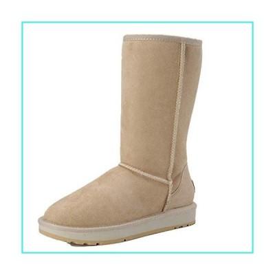【新品】Classic Knee High Sheepskin Suede Leather Wool Fur Shearling Lined Winter Boots For Women Snow Boots Shoes Sand 4(並行輸入