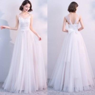 ウェディングドレス 花嫁 白 二次会 結婚式 パーティードレス ロングドレス 花柄 レース Uネック リボン チュール 異素材ミックス ノース
