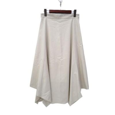 【中古】エリオポール heliopole スカート 38 M 白 オフホワイト ミモレ ヘム フレア 無地 シンプル 美品 レディース 【ベクトル 古着】