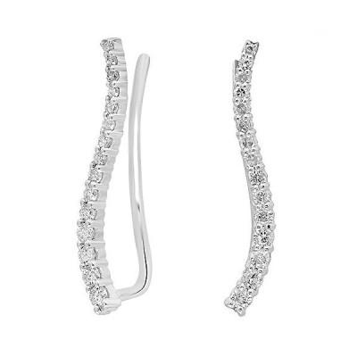 Dazzlingrock Collection 0.30 Carat (ctw) 10K Round Cut White Diamond Ladies Crawler Climber Earrings 1/3 CT, White Gold【並行輸入品】