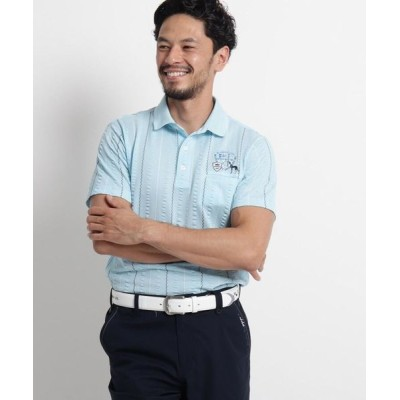 adabat/アダバット 【吸水速乾/UVカット】サッカーストライプ半袖ポロシャツ サックス(990) 48(L)