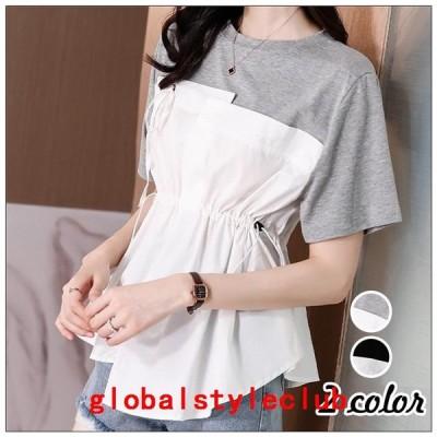 Tシャツトップスレディースきれいめ40代切り替え半袖トップス白インナーオシャレブラウスtシャツ綿大きいサイズ着痩せ韓国風