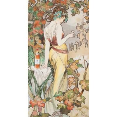 絵画風 壁紙ポスター  アルフォンス・ミュシャ ビスキー・コニャック 1899年 アールヌーヴォー K-MCH-052S2 (316mm×603mm)