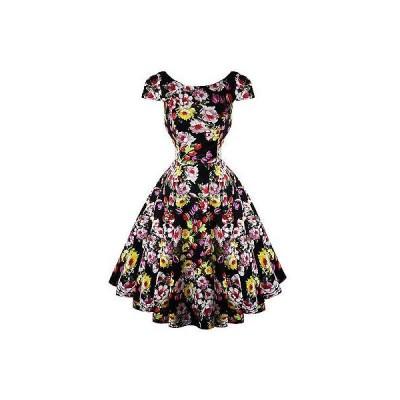 ハーツアンドローズロンドン ドレス ワンピース ハートs ローズs London ブラック フローラル ビンテージ 50s Prom Swing Flaレッド ドレス UK