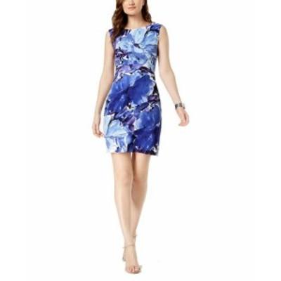 ファッション ドレス Connected Apparel Blue Womens Size 14 Floral Tiered Sheath Dress