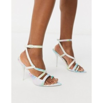 エイソス レディース ヒール シューズ ASOS DESIGN Nash pointed insole heeled sandals in tie dye Watercolor