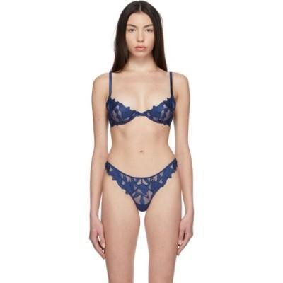 フルール ドゥ マル Fleur du Mal レディース ブラジャーのみ デミブラ インナー・下着 Blue Lily Embroidery Plunge Demi Bra Starry blue