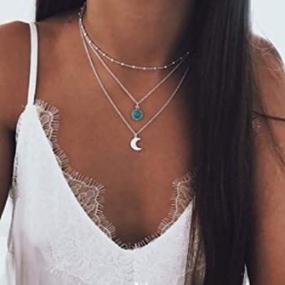 Earent Boho Layered Necklace Silver Choker Moon Pendant Necklaces Chain Turquoise Jewerly for Women and Girls
