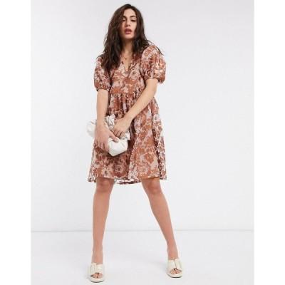 オブジェクト レディース ワンピース トップス Object organza smock dress with puff sleeves in brown floral Multi