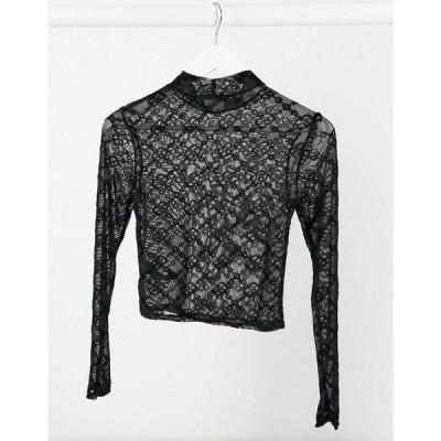 エイソス ASOS DESIGN レディース ベアトップ・チューブトップ・クロップド トップス high neck cropped mesh long sleeve top with geo pattern ブラック