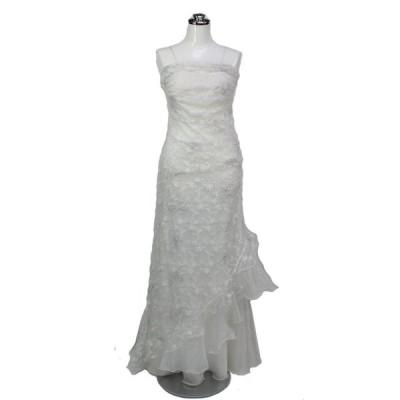 ロングドレス ラメ入りマーメイドウェディングドレス ラメホワイト 9号 L40