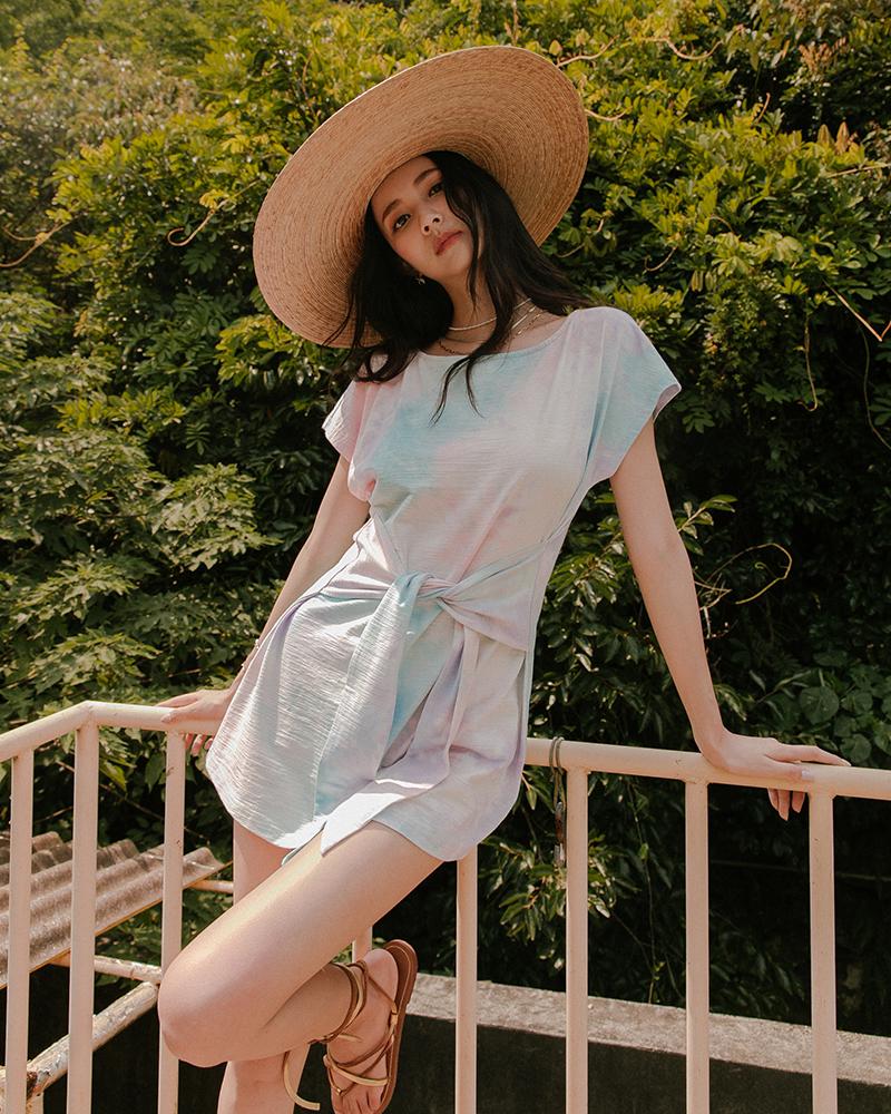 夏日渲染綁帶棉質洋裝(四閨蜜聯名款-Chiao)-Mercci22