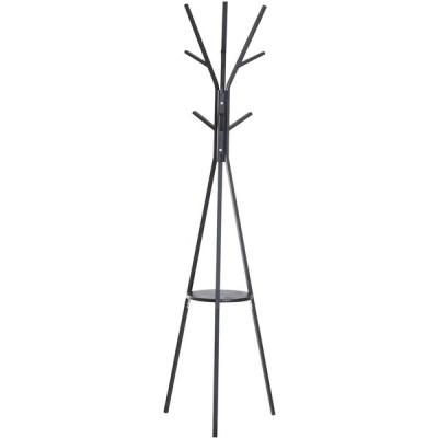 3つのカラースタイル、粉体塗装金属+ MDF木製ディスクコートラック (ブラック+ブラック),サイズ:45 * 45 * 180cm /17