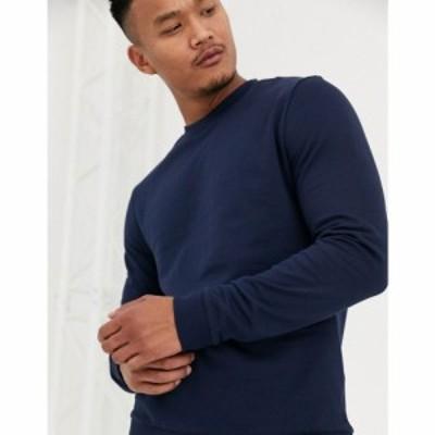 エイソス ASOS DESIGN メンズ スウェット・トレーナー トップス sweatshirt in navy ネイビー