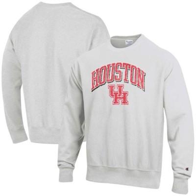 """スウェット """"Houston Cougars"""" Champion Arch Over Logo Reverse Weave Pullover Sweatshirt - Gray"""