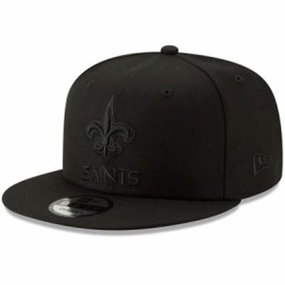 """ニューエラ メンズ キャップ """"New Orleans Saints"""" New Era Black On Black 9FIFTY Snapback Hat 帽子 Black"""