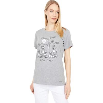 ライフイズグッド Life is Good レディース Tシャツ トップス Dog Lover Tree Crusher Tee Heather Gray