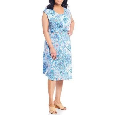 ルビーアールディー レディース ワンピース トップス Plus Size Tile Print Scoop Neck Cap Sleeve Knot Detail Venezia Dress