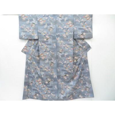 宗sou 小紋 ヱ霞に古典草花文 着物【リサイクル】【着】