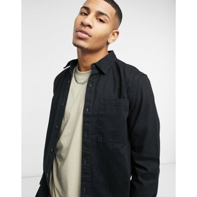 ニュールック メンズ シャツ トップス New Look twill shirt in black Black