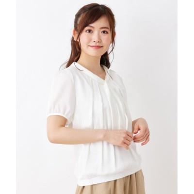 【スープ】 シルキー切替ボウタイシャツ レディース オフホワイト 11(L) SOUP