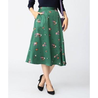 スカート ビーミング by ビームス / フラワーサテン フレアスカート