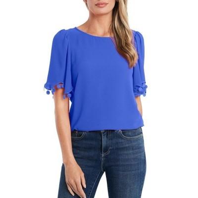 セセ レディース シャツ トップス Short Flutter Sleeve Lace Trim Blouse Blue Allure