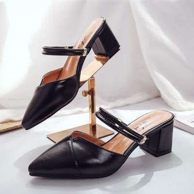 ポインテッドトゥハイヒール6cmかかとなしスリッパサンダルレディース無地ウェッジソール2色ミュール痛くない歩きやすい美脚普段履き女性用