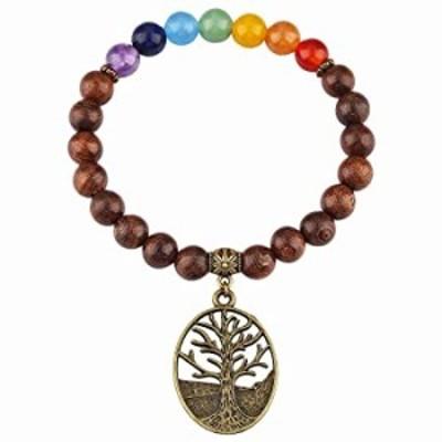 "SUNYIK Gold Silk Sandalwood Stretch Bracelet for Unisex, 7 Chakra Stone Symbol Wristband 7"" Strand, Tree of Life"