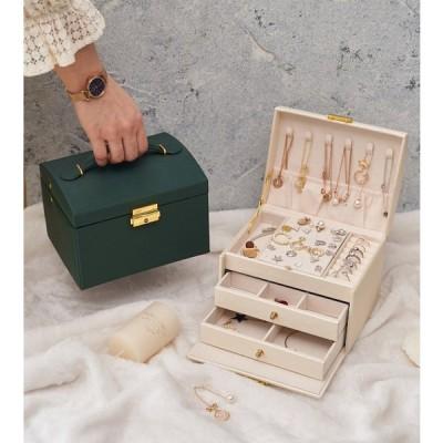 ジュエリー収納ボックス / おしゃれ 可愛い オシャレ 可愛い レディース 指輪 ピアス ネックレス 引き出し インテリア PUレザー 姫系 コンパクト