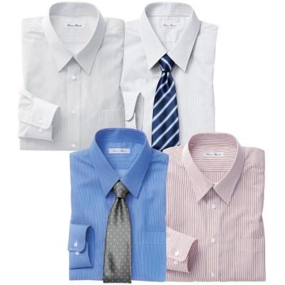 おまかせ形態安定ワイシャツ4枚組(レギュラーカラ―) 大きいサイズメンズ (ワイシャツ)Shirts, テレワーク, 在宅, リモート