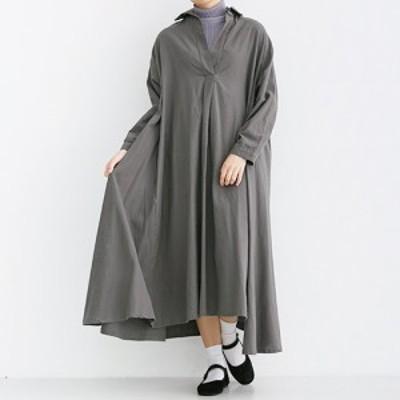 ラスト3点 スキッパー シャツワンピース 大きめサイズ 長袖 ゆったりAライン フリーサイズ ゆったりサイズ FREESIZE merlot メルロー