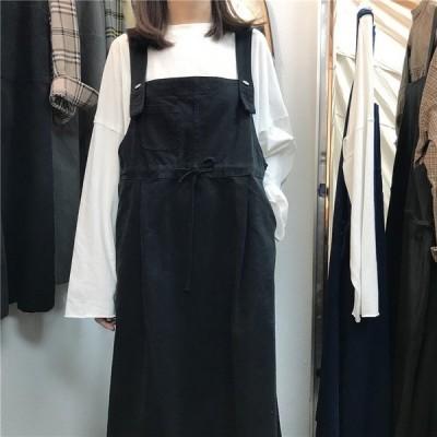 オールインワン サロペットスカート 大きいサイズ ジャンパースカート ワンピース ロング丈 無地 ゆったり カジュアル シンプル お出かけ ウエストマ
