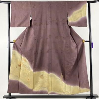 訪問着 名品 仕覆 草花 箔 金彩 紫 袷 身丈154cm 裄丈61.5cm S 正絹 中古
