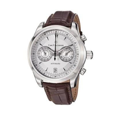 Carl F. Bucherer Men's 0010910081301 Manero Silver Chronograph Dial Brown Strap Watch 並行輸入品