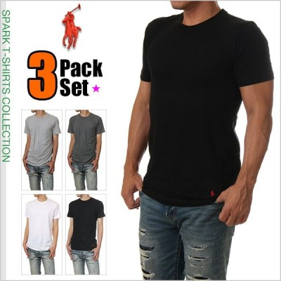 ラルフローレン Tシャツ POLO RALPH LAUREN 半袖 無地 Tシャツ メンズ 大きいサイズ ブラック ホワイト  黒 白 ブランド 3枚セット