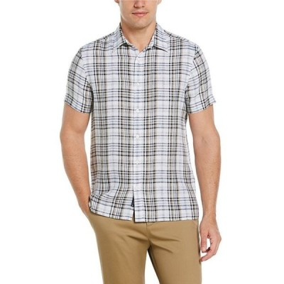 ペリーエリス メンズ シャツ トップス Big & Tall Untucked Plaid Linen Short-Sleeve Woven Shirt