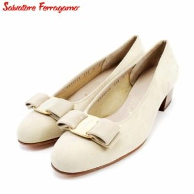 サルヴァトーレ フェラガモ パンプス シューズ 靴 #5 ヴァラリボン ベージュ Salvatore Ferragamo 中古 C3582