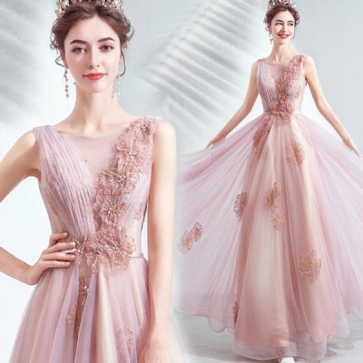 【ANGEL】ノースリーブ肌透けラメチュールフラワービジュー背中編上げAラインロングドレス【送料無料】高品質 ピンク ロングドレス パーティードレス