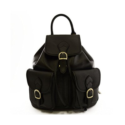 Made In Italy Genuine Leather Backpack, 2 Front Pockets Color Black Tuscan Leather - Backpack 並行輸入品