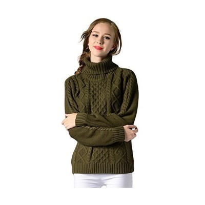 Locomo Women Girl Turtleneck Cable Knit Pullover Sweater Top FFK098GRNS Arm