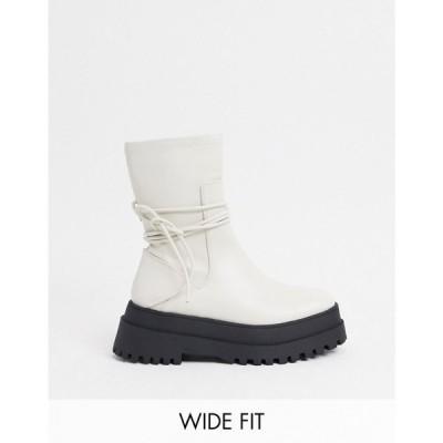 パブリックディザイア Public Desire Wide Fit レディース ブーツ ショートブーツ Public Desire Finale Wide Fit Chunky Flat Ankle Boots With Tie In Bone