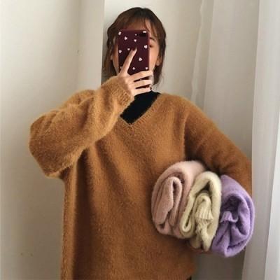 ニットレディーストップスショート丈ニットシャギードルマンセーター長袖無地カラバリノアール韓国ファッション