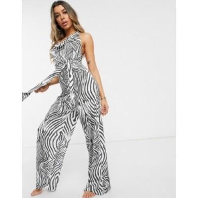 エイソス レディース ワンピース トップス ASOS DESIGN jersey slinky beach jumpsuit in contour mono zebra print Mono zebra