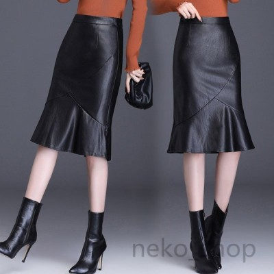 PUスカートハイウエストレザースカートレディース合皮ひざ丈スカート無地マーメイドスカートスリムヒップラップ大人気着痩せ