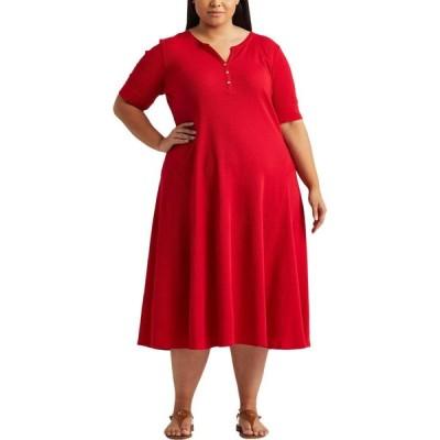 ラルフ ローレン LAUREN Ralph Lauren レディース ワンピース ヘンリーシャツ 大きいサイズ ワンピース・ドレス Plus Size Cotton Henley Dress Lipstick Red